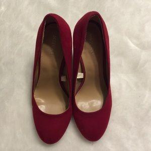 Merona red suede block heel